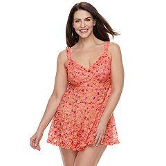 Plus Size Lunaire Floral Lace Babydoll & Panty Lingerie Set 43153KX
