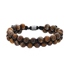 Men's 1913 Stainless Steel Tiger's-Eye Beaded Bracelet