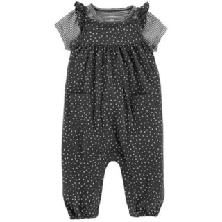Baby Girl Carter's Striped Tee & Polka-Dot Coverall Set