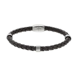 1913 Men's Stainless Steel Woven Leather Bracelet