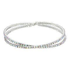 Simulated Crystal Crisscross Cuff Bracelet