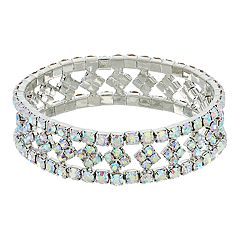 Simulated Crystal Open-Worked Stretch Bracelet