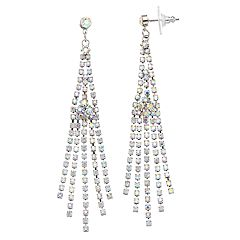 Simulated Crystal Long Fringe Drop Earrings