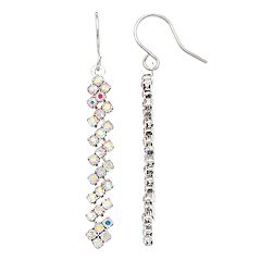 Simulated Crystal Linear Drop Earrings