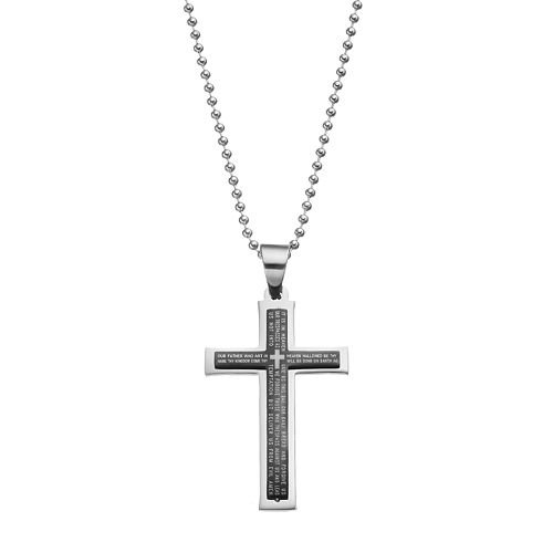 1913 Men's Stainless Steel The Lord's Prayer Cross Pendant