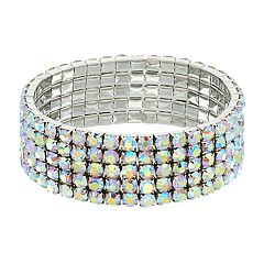 Simulated Crystal 5-Row Stretch Bracelet