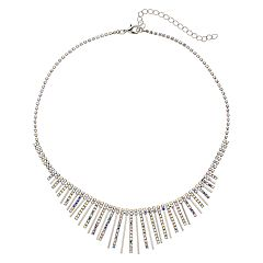 Simulated Crystal Graduated Stick Necklace