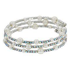 Simulated Crystal & Bead Coil Bracelet