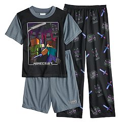 Boys 4-10 Minecraft 3-Piece Pajama Set