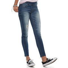 Juniors' Indigo Rein Mid-Rise Pull-On Jeggings