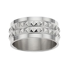 1913 Men's Stainless Steel Studded Ring