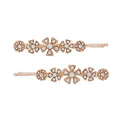 LC Lauren Conrad Flower & Simulated Crystal Cluster Bobby Pin Set