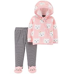 Baby Girl Carter's Hooded Cat Top & Striped Footed Leggings Set