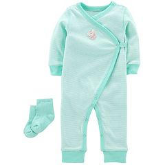 Baby Girl Carter's Striped Unicorn Jumpsuit & Socks Set