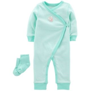 Baby Girl Carter's Striped Unicorn Jumpsuit & Socks Set