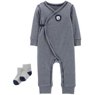 Baby Boy Carter's Striped Lion Jumpsuit & Socks Set