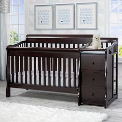 Delta Children Princeton Junction Convertible Crib N Changer White Dark Brown Gray