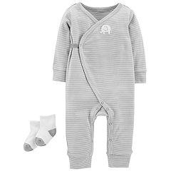 Baby Carter's Striped Elephant Jumpsuit & Socks Set