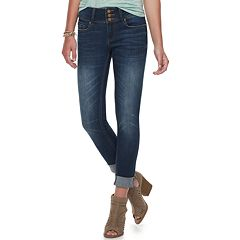 Juniors' Indigo Rein Mid-Rise Roll-Cuff Ankle Skinny Jeans