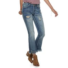 Juniors' Indigo Rein Mid-Rise Destructed Frayed Hem Ankle Jeans