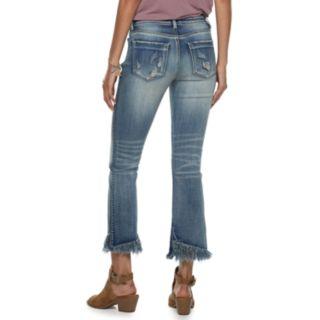 Juniors' Indigo Rein Mid-Rise Destructed Frayed Hem Ankle Jeans