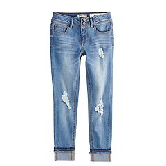 Girls 7-16 Indigo Rein Frayed Girlfriend Skinny Jeans
