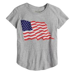 Girls 7-16 Wavy Flag Tee