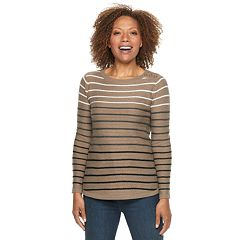Petite Croft & Barrow® Curved Hem Sweater