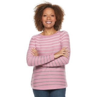 Petite Croft & Barrow® Curved Hem Sweater