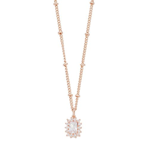 LC Lauren Conrad Rectangle  Halo Pendant Necklace
