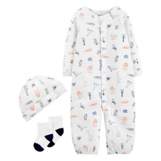 Baby Boy Carter's Mixed Animals Convertible Coverall Gown, Cap & Socks Set