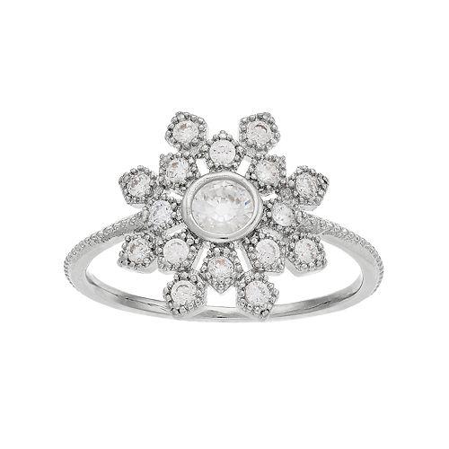 LC Lauren Conrad Simulated Crystal Snowflake Ring