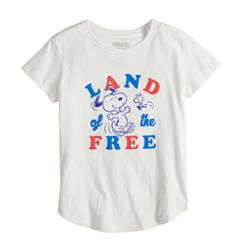 Girls 7-16 Peanuts Snoopy Land of the Free Tee