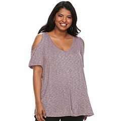 Juniors' Plus Size SO®Cold-Shoulder Top