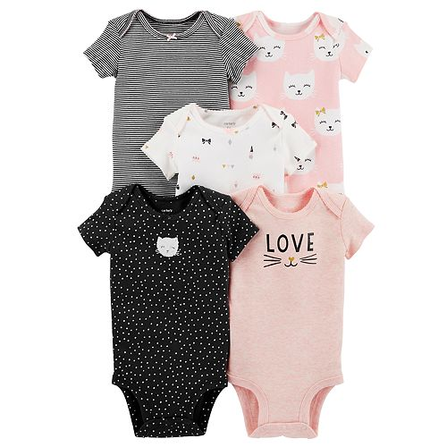 9024ee3f111 Baby Girl Carter s 5-pack Cat Graphic Bodysuits