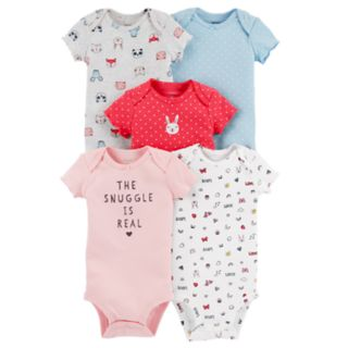 """Baby Girl Carter's """"The Snuggle Is Real""""  5-pack Graphic Bodysuits"""