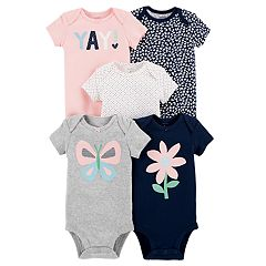 Baby Girl Carter's 5-pack Short Sleeve Graphic Bodysuits