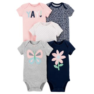 Baby Girl Carter's 5-pack Short Sleeve Graphic Bodysuits