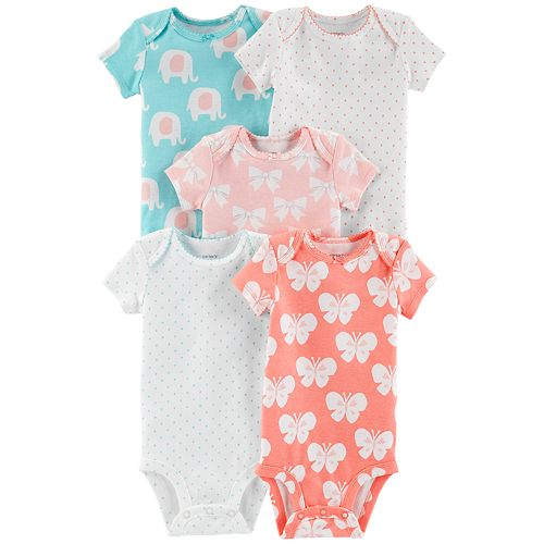 5b610907804 Baby Girl Carter s 5-pack Butterfly Graphic Bodysuits