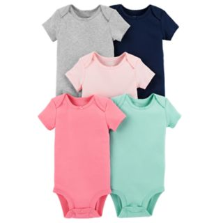 Baby Girl Carter's 5-pack Solid Picot Trim Bodysuits