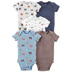 Baby Boy Carter's 5-pack Animal Graphics & Stripes Bodysuits