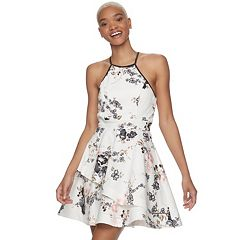 Juniors' Speechless Halter Tiered Floral Skater Dress