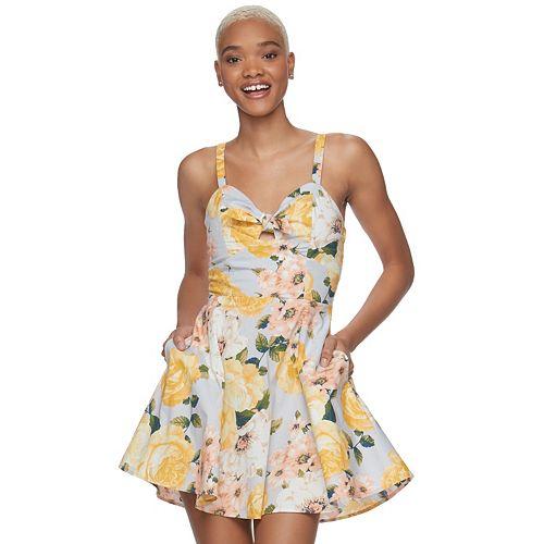 Juniors' Speechless Tie Front Floral Skater Dress