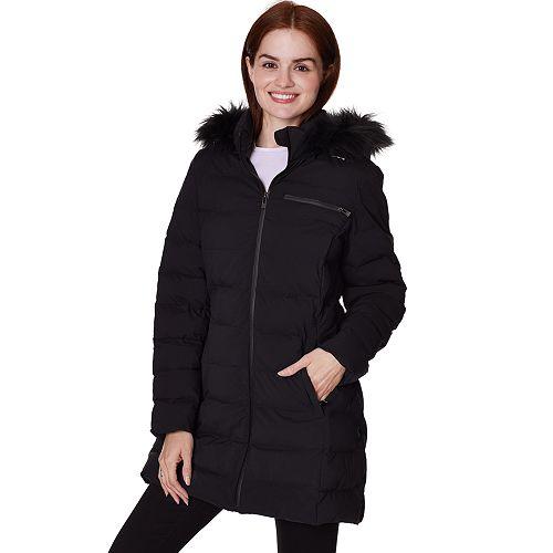 Women's Faux-Fur Hooded Stretch Puffer Jacket