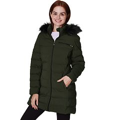 Women's Faux-Fur Hooded Stretch Puffer Jacket