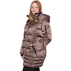 Plus Size Halitech Hooded Iridescent Puffer Jacket