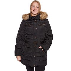 Plus Size Halitech Faux-Fur Hooded Belted Puffer Jacket