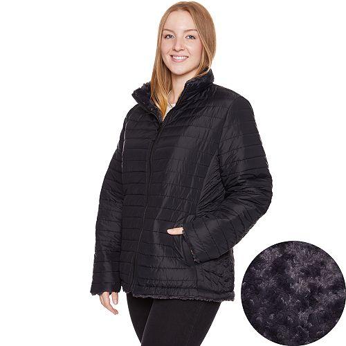 Plus Size Halitech Faux-Fur Reversible Jacket