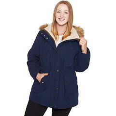 Plus Size Halitech Faux-Fur Hooded Anorak Microfiber Parka