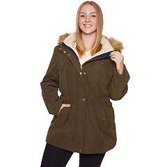 Plus Size Halitech Faux-Fur Hooded Anorak Microfiber Parka